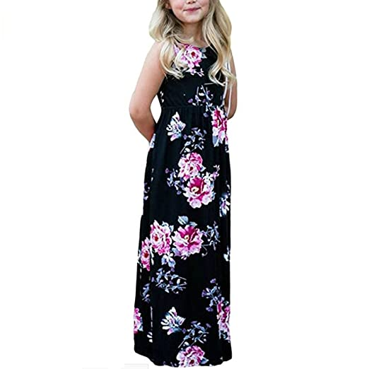 55dab7fbaf Euone for 0-6 Years Old Girls Floral Printed Long Dress Boho Sleeveless  Dresses (