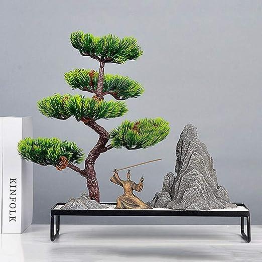 Hjyi Meditación Zen Garden,Jardin Zen Simulacion China Bonsai Adornos Zen Paisaje Seco Micro Paisaje Home Living Room Decoracion De Oficina Porche: Amazon.es: Hogar