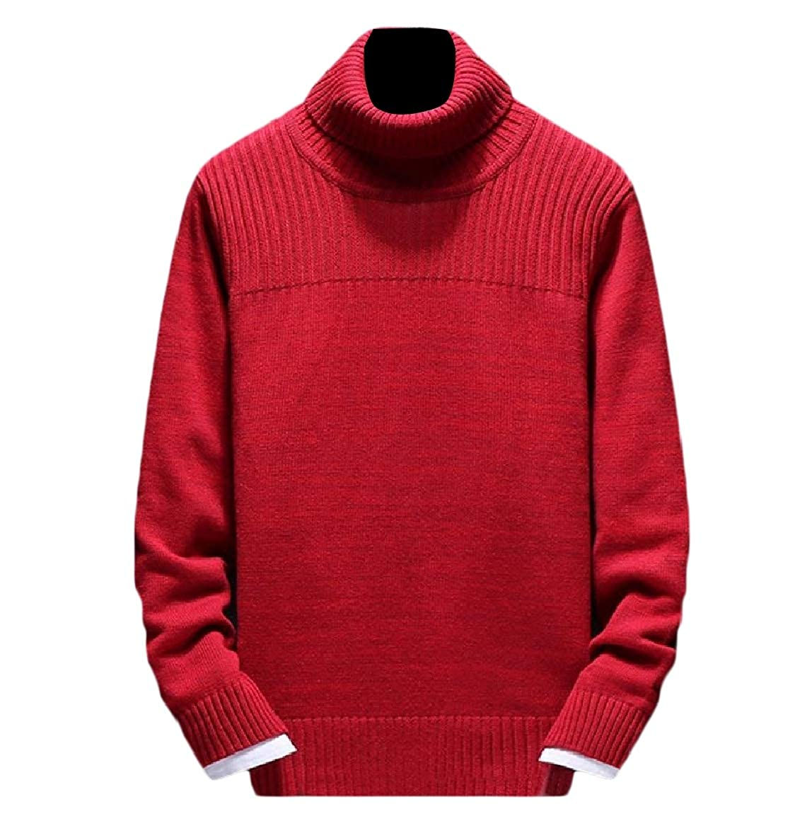 YUNY Mens Pure Color Turtleneck Thermal Ribbed Knit Pullover Sweaters Red XL