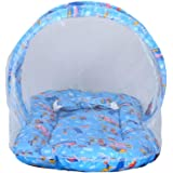 HAY BABY/P.H. Pushpraj Handicraft Baby's Mosquito Net and Mattress Bedding Set (Sky Blue, 0-6 Months)
