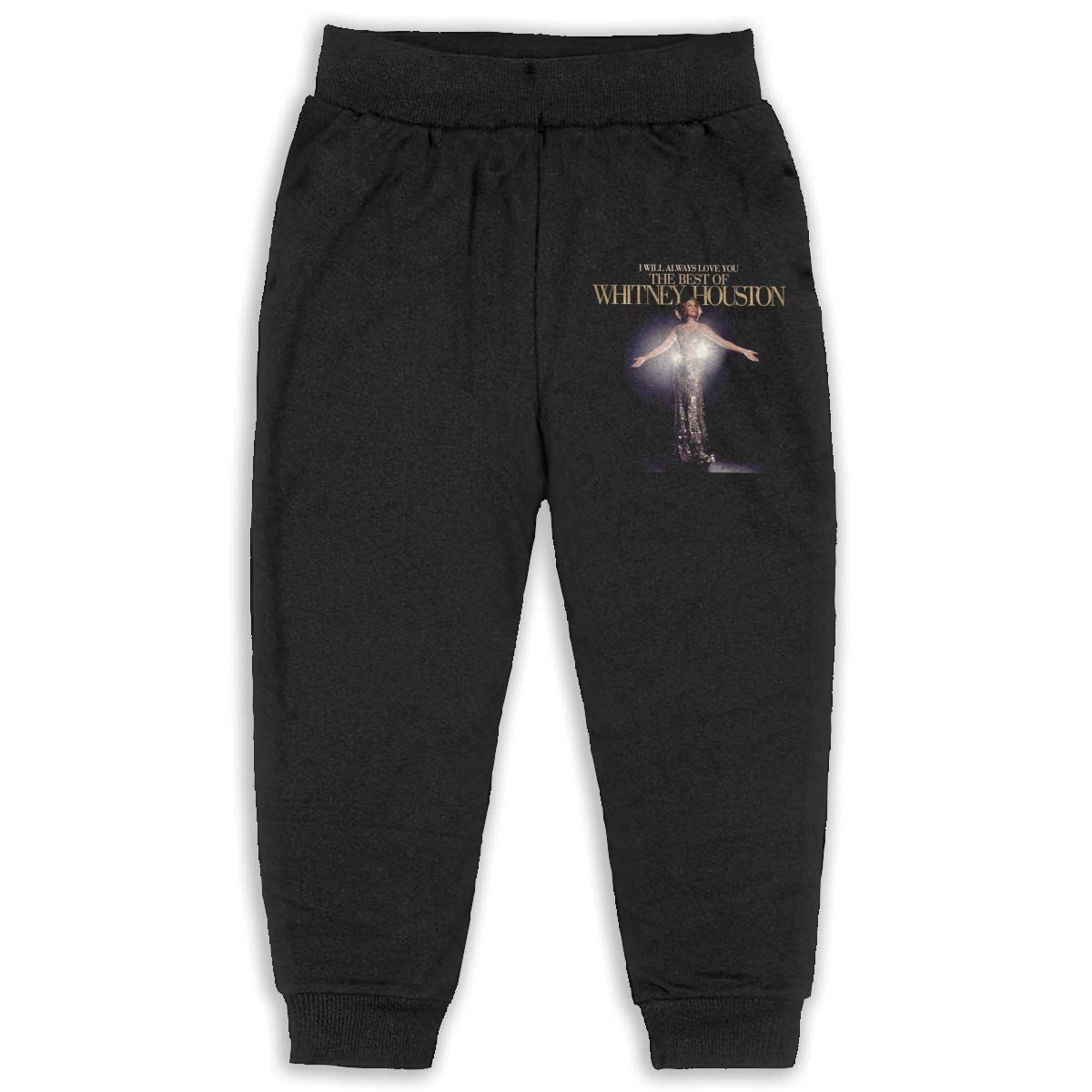 Trisharosew Kids Whitney Houston I Look to You Music Band Boys Girls Sweatpants Stretch Jogger Pants Back Pocket Black