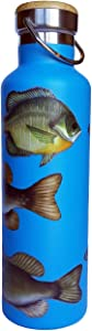Beachcomber Blue Water Stainless Steel Water Bottle | Double Wall Insulated | Freshwater Fish | With Walleye, Northern Pike, Sunfish, Bass and Perch | BPA Free
