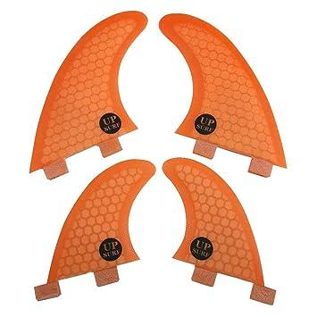 UPSURF Tabla de Surf FCS Aletas Fibra de Vidrio Quad Fin Thruster Set Tener Panal Para