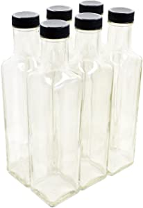 Clear Glass Quadra Bottles, 250ml (8.5 Fl Oz) - Pack of 6