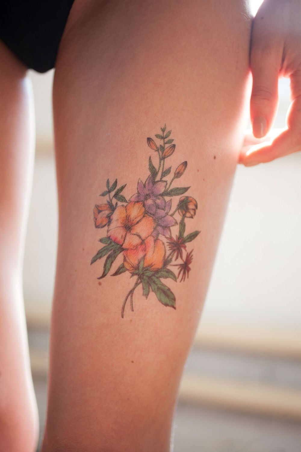 Amazon.com : Watercolor Flower Bouquet Temporary Tattoo - Realistic ...