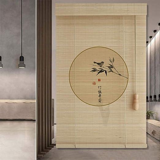 XIAOYAN Persianas Persiana Enrollable con un patrón Redondo Simple Cortina de sombrilla Retro para Interiores de bambú 3 Estilos múltiples tamaños (Color : B, Tamaño : 120×180cm): Amazon.es: Hogar