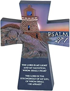 Dicksons The Lord is My Light Lighthouse Cross 3 x 5 Resin Stone Tabletop Figurine