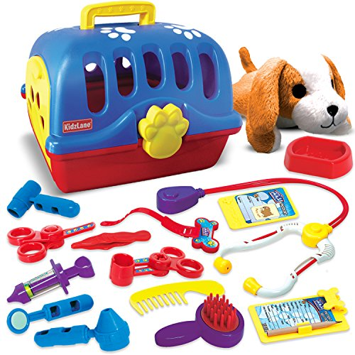 Kidzlane Deluxe Pet Doctor Vet Kit, Interactive Pretend Role Play Set -