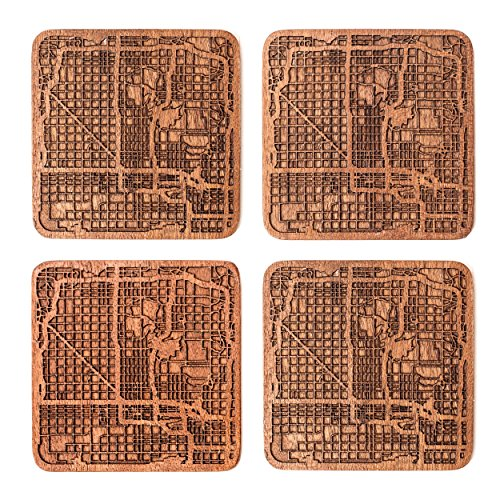 Phoenix Map Coaster by O3 Design Studio, Set Of 4, Sapele Wooden Coaster With City Map, Handmade