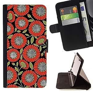For Sony Xperia Z1 L39 Case , Patrón de la tela naranja Negro- la tarjeta de Crédito Slots PU Funda de cuero Monedero caso cubierta de piel
