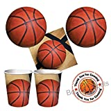 Basketball Sports Fanatic Party supplies - tableware for 16 guests - cake plates, napkins, and cups, plus bonus labels by Party Creations