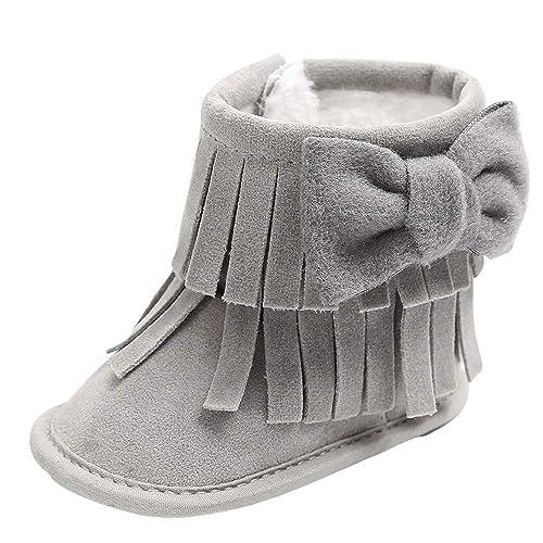Botas Bebe Invierno,❤ Amlaiworld Zapatos Cuna Suave Bebé Niños Niñas Primeros Pasos Botas de Nieve Suave con borlas Botines Sneakers Zapatillas ...