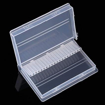 Caja organizadora de 20 agujeros para brocas de uñas: Amazon.es: Belleza