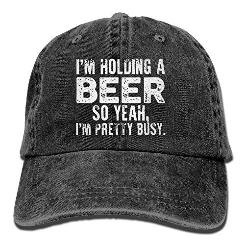 I'm Holding A Beer So Yeah I'm Pretty Busy Retro Washed Dyed Adjustable Plain Cowboy Cap ¡ Black -