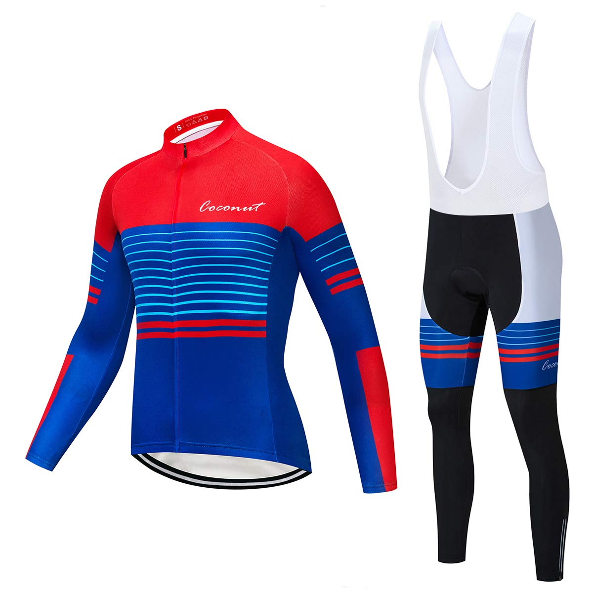 Coconut Ropamo Men's Cycling Jersey Suit Long Sleeve Road Bike Jersey Cycling Sets Tights with Padded (Medium, Red&Blue) by Coconut Ropamo