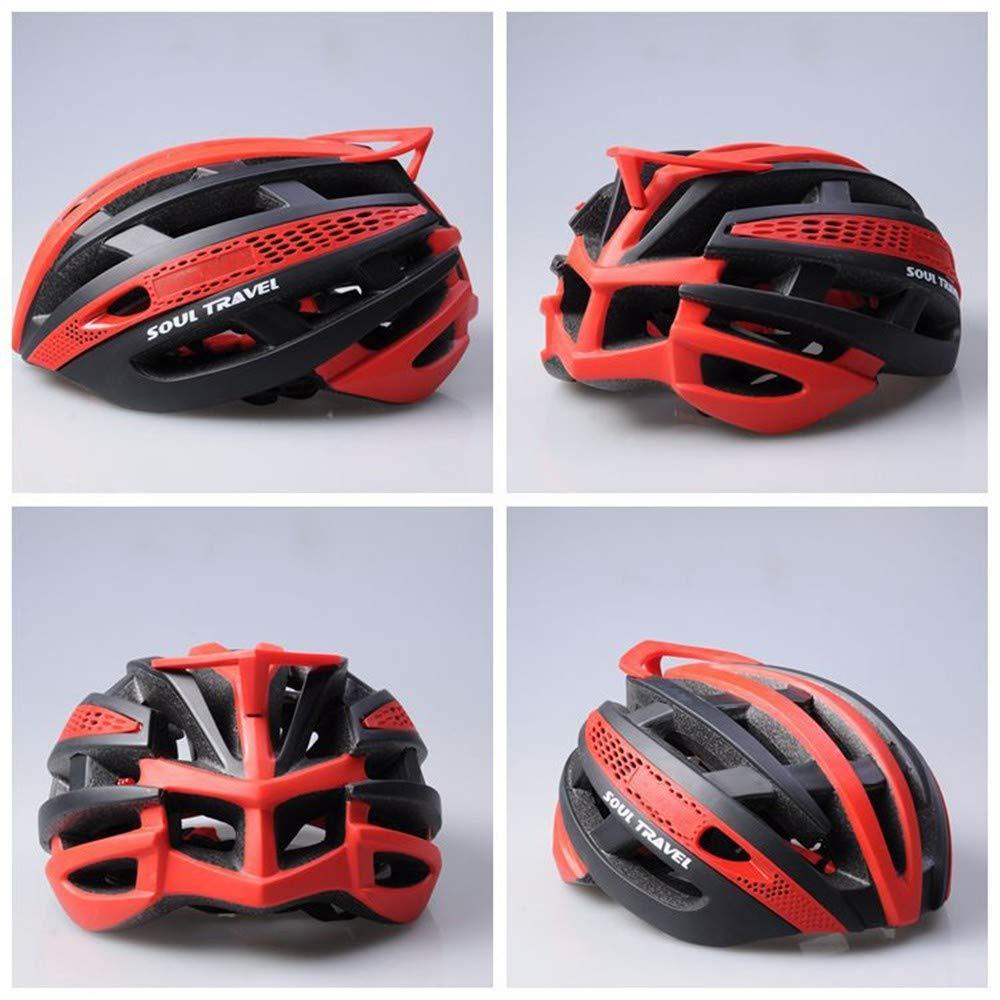 Fahrradhelm Helm,Sporthelm,Einteiliger, super Leichter Reithelm mit Hohem Schutz, rot + schwarz