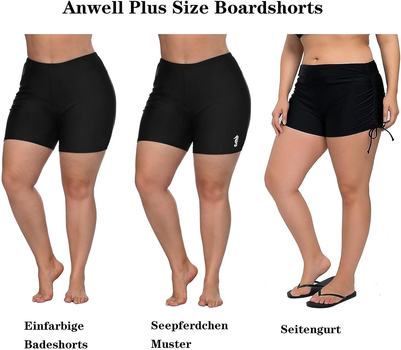 Anwell Damen Lange Boxershorts /Übergr/ö/ße Hohe Taille Einfarbig Ausziehbar Schwimmen Hosen