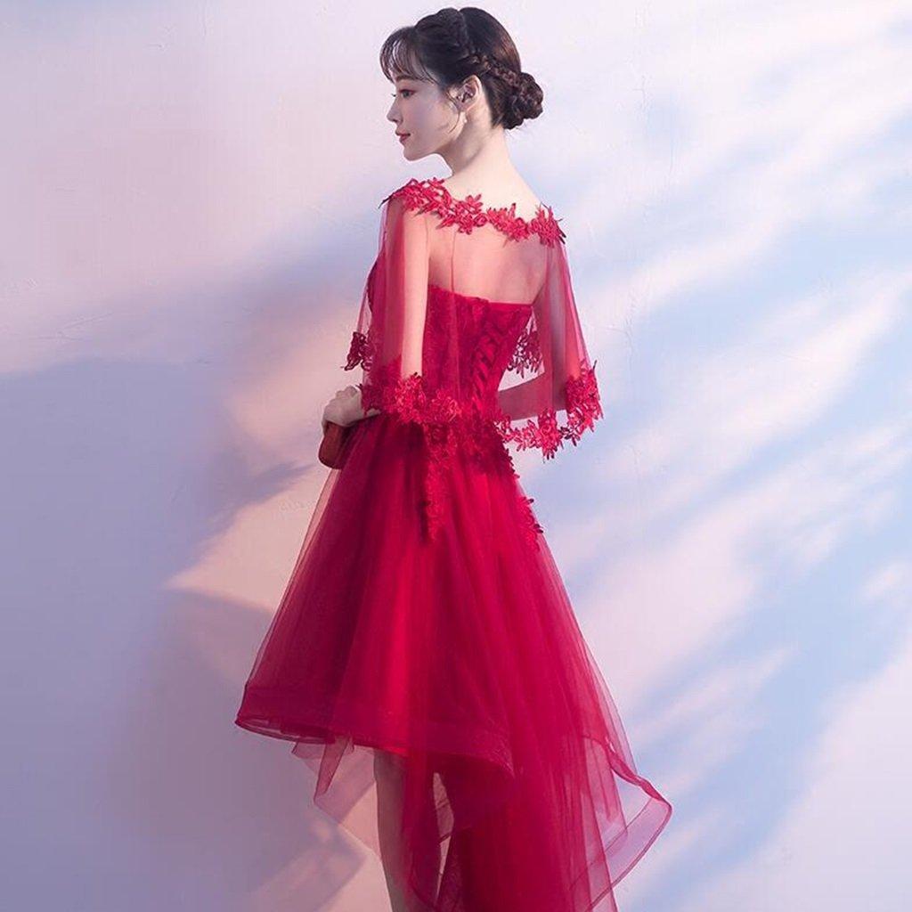 Vestido de noche Novia Verano Casar Novia Rojo, Parrafo Corto ...