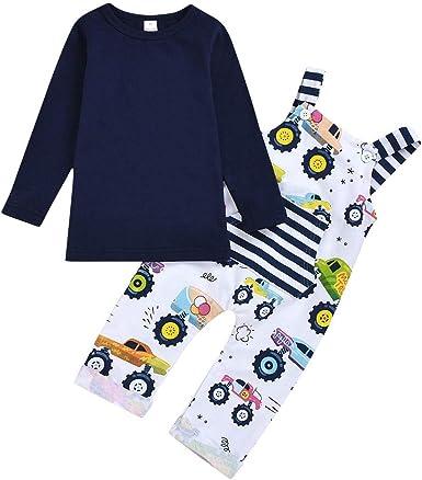 2PCS Toddler Kids Baby Boys Trousers Outfits Cartoon T-shirt Tops Long Pants AB