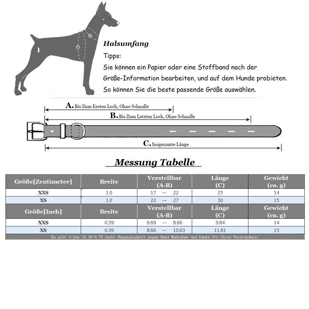 Hundehalsband Pu Leder Halsbänder Bling Strass Xxs Xs Für Kleine
