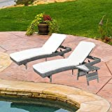 Do4U Adjustable Patio Outdoor Furniture Rattan Wicker Chaise Lounge Chair Sofa Couch Bed with Cushion and Table -2 Pcs Chaise Lounge and a Table (8667-DRGY-T+C+T) For Sale