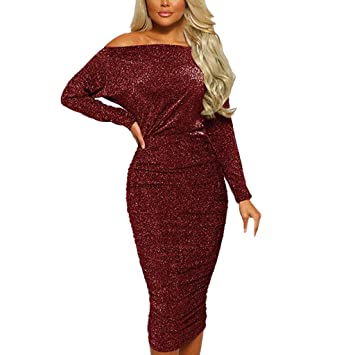 5b41e142a9 Women's Long Sleeve Sexy Rhinestone Embellished Bodycon Slim Fit Club Mini  Off Shoulder Evening Party Club