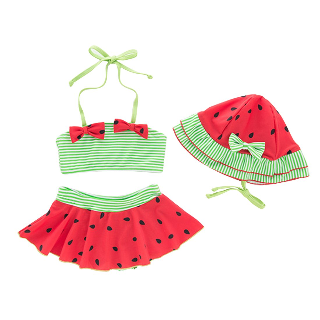 Amberetech 3pcs Toddler Baby Girls Swimwear Cute Watermelon Bikini Set Swimsuit Beachwear Outfits