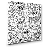 Lots Of Owls Art Therapy Coloring Canvas Home Decor