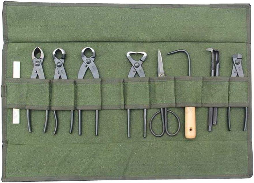 Heavy Duty Canvas Bonsai Tool 10-Pocket Case, Portable Compact Tool Roll Storage Bag for Garden