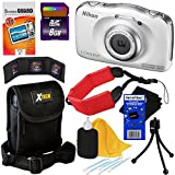 Nikon COOLPIX S33 Waterproof & Shockproof 13.2 MP Digital Camera with 3x Zoom NIKKOR Lens and Full HD 1080p Video, White - International Version (No Warranty) + 8pc Bundle 8GB Accessory Kit w/ HeroFiber Ultra Gentle Cleaning Cloth
