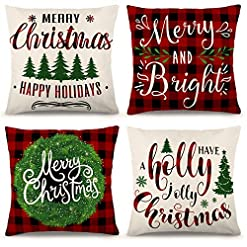 Christmas Farmhouse Home Decor ZJHAI Christmas Pillow Covers 18×18 Inch Set of 4 Farmhouse Black and Red Buffalo Plaid Pillow Covers Holiday Rustic… farmhouse christmas pillow covers