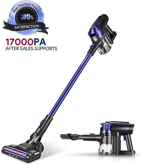 Deenkee Aspirador Escoba, 17000Pa Aspiradora sin Cable Vertical y de Mano, 2 en 1, con 22.2V extraíble batería Ion-Litio, hasta 35 min (Azul 5): Amazon.es: Hogar