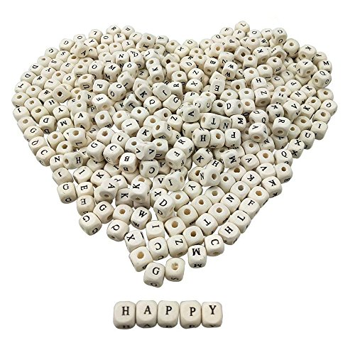 400PCS Mixed Wooden Alphabet Letter Cube Loose Beads For DIY Craft Project Jewelry by ()