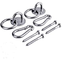 Hammock Hanging Hook Kit, Load Capacity 1400 lb, Stainless Steel Round Mount Pads, Spring Snap Hooks, Lag Screws Set for Hammock Yoga Swing Chair Punching Bag Indoor Outdoor Relaxation