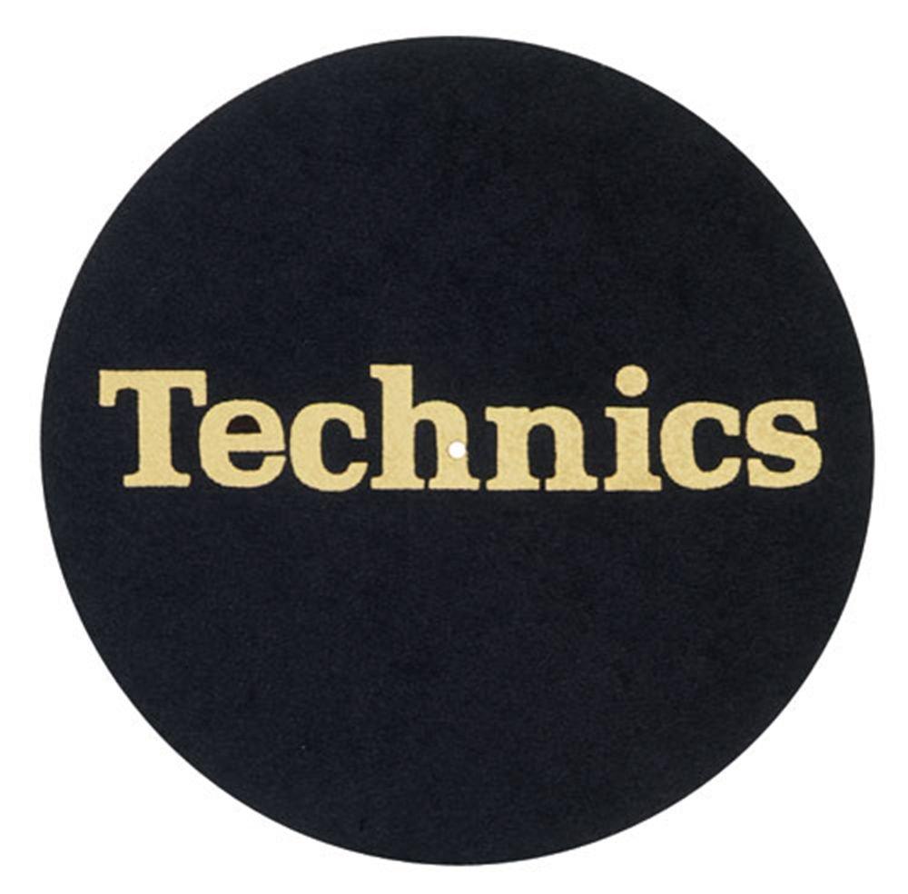 2x feutrine pour Technics Noir avec logo Doré