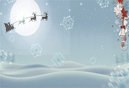 AOFOTO 5x3ft Christmas Snowflake Photography Background Cartoon Flying Reindeer Pull Santas Sleigh Backdrop Outdoor Snowfield Holiday