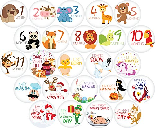 """24 Pack of 4"""" Premium Baby Monthly Stickers By KiddosArt. 1 Happy Animal Sticker Per Month of Your Baby's First Year Growth and Holidays. Month Sticker for Baby, Boy or Girl. Milestone Onesie Stickers"""