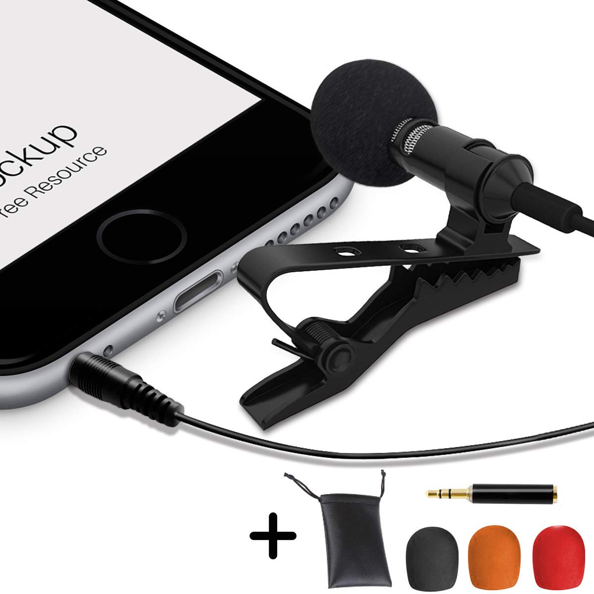Professional Grade Lavalier Lapel Microphone  Omnidirectional Mic with Easy Clip On System Perfect for Recording Youtube/Interview / Video Conference/Podcast / Voice Dictation/iPhone/ASMR