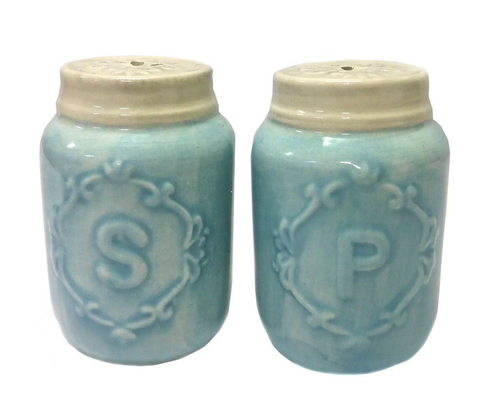 Miniature Ceramic Mason Jar-Shaped Salt /& Pepper Shakers Blue 2.75 H by Youngs