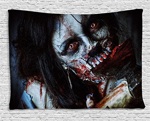 Ambesonne Zombie Tapestry, Scary Dead Woman with a Bloody Tool Evil Fantasy Gothic Mystery Halloween Picture, Wall Hanging for Bedroom Living Room Dorm, 80 W X 60 L Inches, Grey Red ()