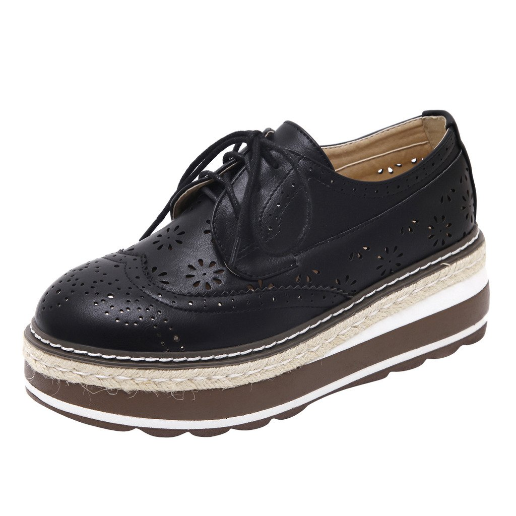 Dear Time Platform Creepers Lace-Up Wingtip Oxfords Brogue Shoes Black US 7