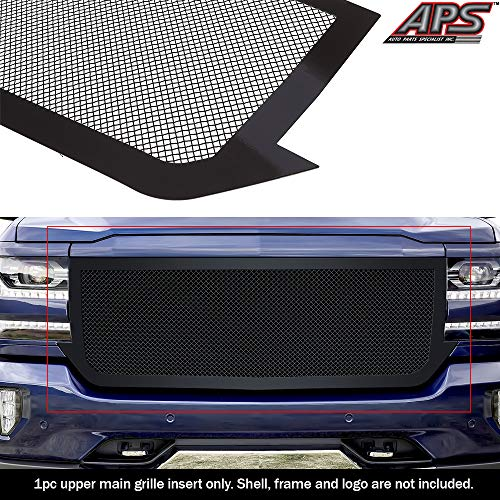 APS Fits 2016-2018 Chevy Silverado 1500 Stainless Steel Black 1.8 mm Wire Mesh Grille Insert -