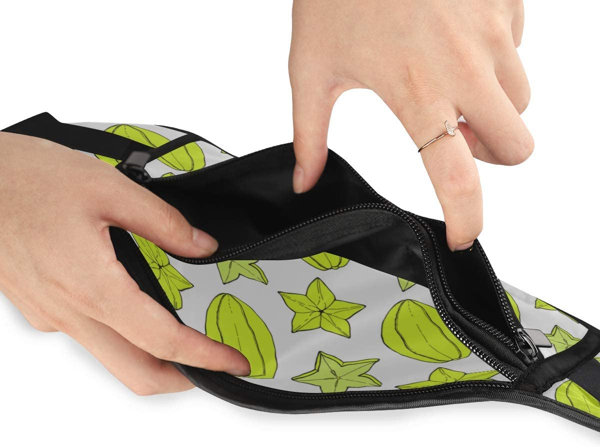 Travel Waist Pack,travel Pocket With Adjustable Belt Carambola Fruit Starfruit Pattern Handdrawn Running Lumbar Pack For Travel Outdoor Sports Walk