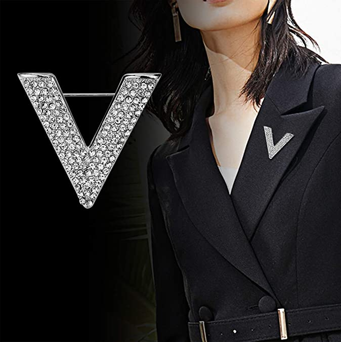 Vintage Style Jewelry, Retro Jewelry Simple New Letter V-Type Womens Micro-Inlaid Rhinestones Shine Brooch Personality Popular pin Triangle Jewelry $9.99 AT vintagedancer.com