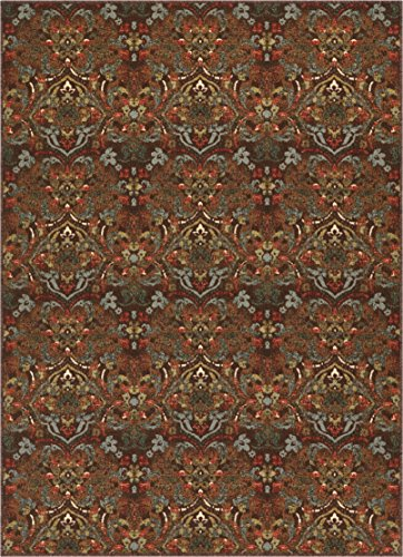 - Well Woven Non-Skid/Slip Rubber Back Antibacterial 5x7 (5' x 7') Traditional Persian Rug Brown Mutli Color Thin Low Pile Machine Washable Indoor Outdoor Area Rug