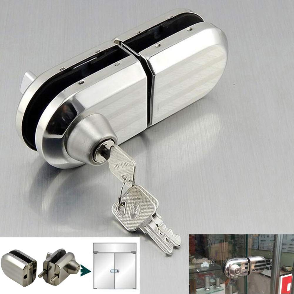 with 3 Keys Only Fit 10mm -12mm Thickness Single Swing Hinged, Frameless Glass Door Locks, Durable Metal Chrome Stainless Steel Anti-Theft Security Lock