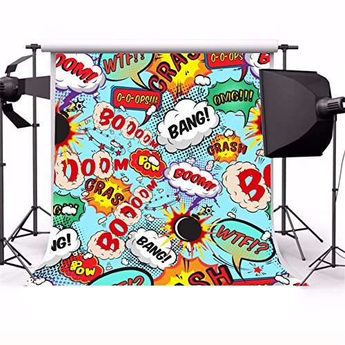 AOFOTO 5x5ft Comic Bomb Explosion Sound Graffiti Photography Studio Backdrops Cartoon Abstract Boom Bang Letter Photo Shoot Background Video Props Kids Birthday Party Decoration Wallpaper