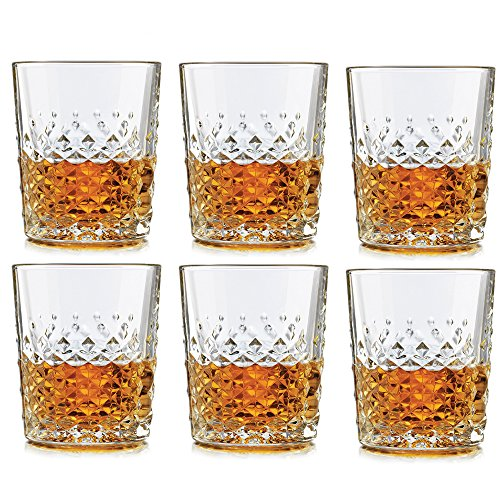 Libbey Carats Double Old Fashioned Glass 12 oz - 6 Pack w/ Pourer 12 Ounce Glass Pourer