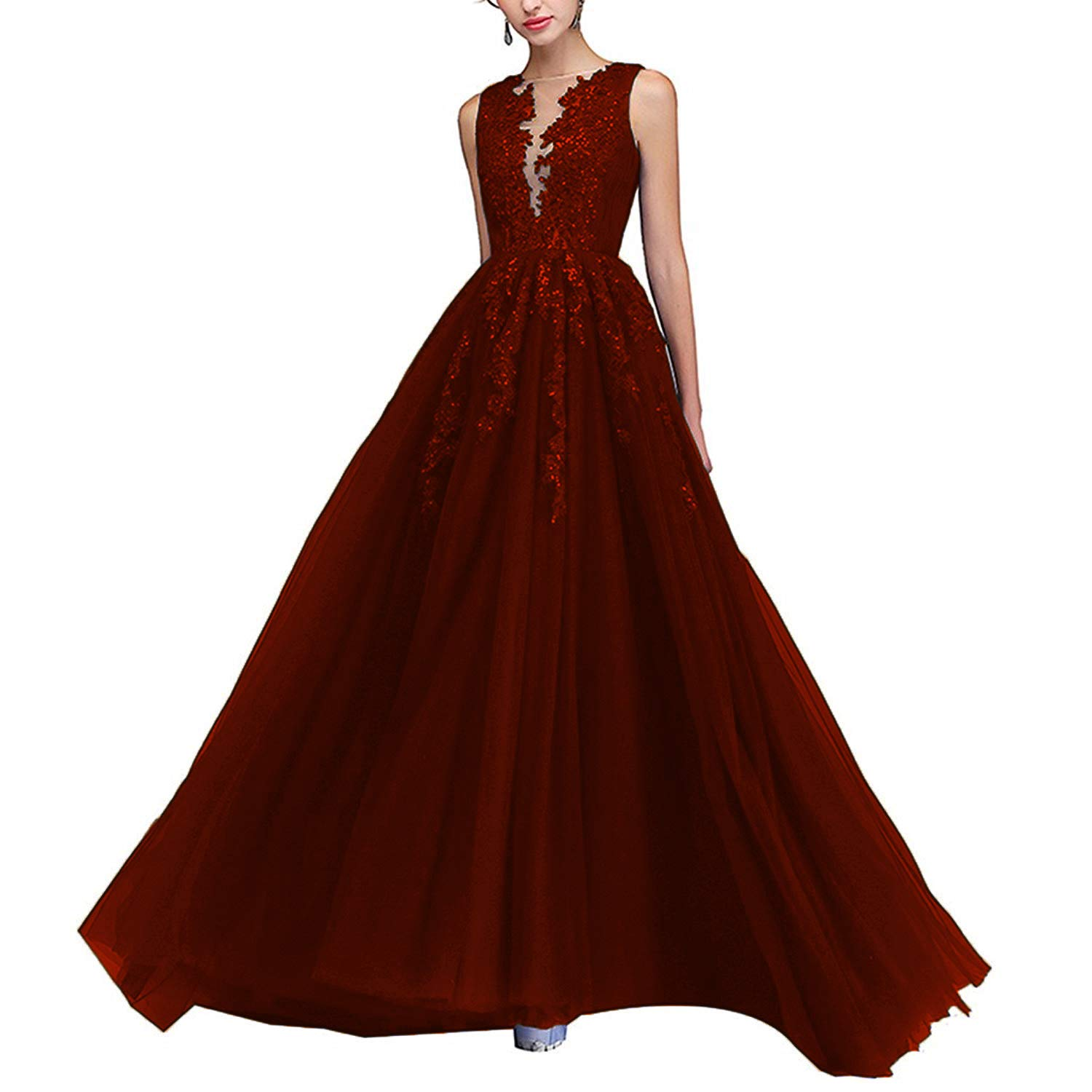 Dark Red PearlBridal Illusion Neck Lace Appliques Long Prom Dresses Beaded Tulle Evening Dress for Women Side Slit