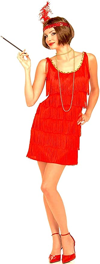 Roaring 20s Girl Red Adult Fancy Dress Costume great for murder mystery nights